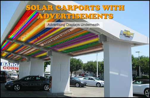 Solar carports with advertisements