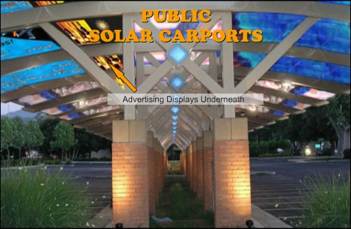 Solar public carports with advertisements